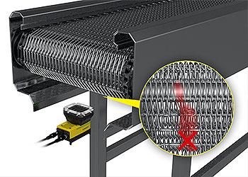 In-Sight D900 从下方检测传送带的链条缺陷