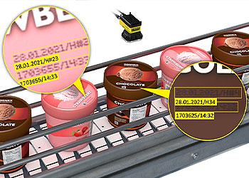 视觉系统读取冰激凌盖上的字符识别码