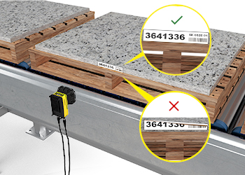 The In-Sight D900 reads challenging codes from building materials on pallets to improve traceability.