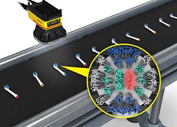 检测传送机上的电动牙刷头