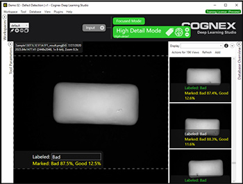VisionPro Deep Learning(VisionPro 深度学习)使用 Green Classify High Definition Mode(绿色分类高细节模式工具)定位口香糖上的外观缺陷和异常。