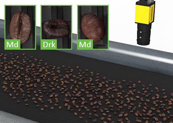 视觉系统分类传送机上的咖啡豆