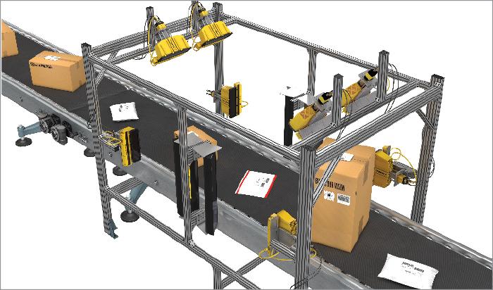 Logistics tunnel scanning parcels with Cognex