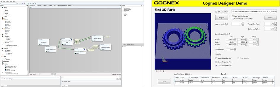 工作中的 VisionPro 和 Cognex Designer 软件