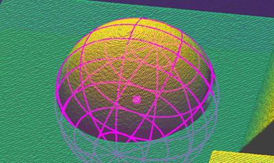 Extract Sphere3D 视觉工具使用零件的几何形状定位并测量零件的球形部分。