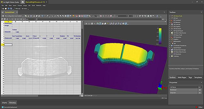借助 In-Sight 电子数据表,用户可检测 In-Sight 3D-L4000 三维图像上的刹车片