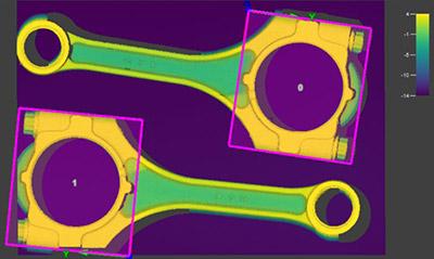 PatMax3D 视觉工具改进了连杆上的图案匹配和零件定位的标准。它确保所有视觉工具都在正确的位置,能够准确地检测三维图像上的零件。