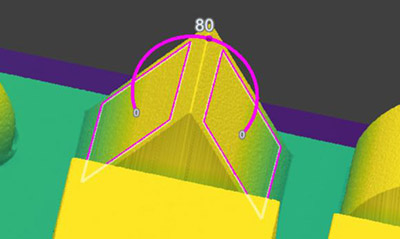 平面到平面 Angle3D 测量提取的两个平面之间的角度。