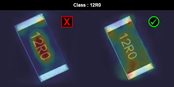 Examples of incorrect and correct image analysis of an electronic part
