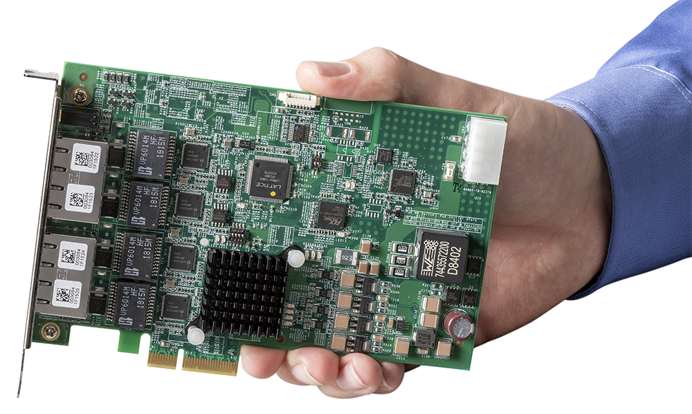 Hand holding GigE Frame Grabber PCI Express x4 lane